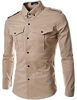 TheLees Men's Slim Fit Strap Big Pocket Shirt