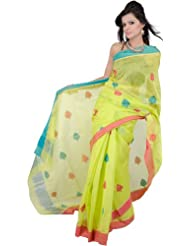 Exotic India Lime Punch-Green Chanderi Sari From Madya Prades - Lime Punch Green