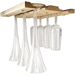Under Cabinet Wood Wine Glass Rack - Hanging Holder For Stemware Storage Under Cabinet, Counter, Shelf Or Bar - Made In The USA Of Raw Solid Wood - Includes Hardware And Detailed Instructions