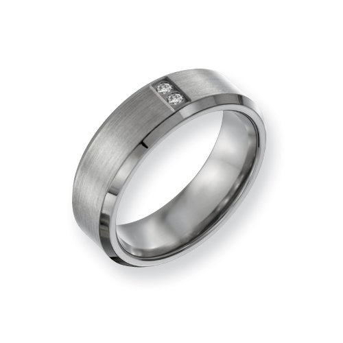 Titanium Satin & Polished With Diamonds 7mm Band, Size 10