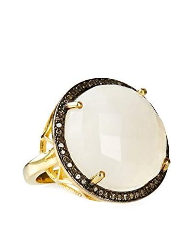 Liv Oliver 18K Gold-Plated Moonstone & Diamond Round Statement Ring