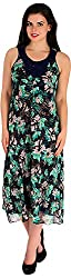 Holidae Women's Multicolour Tropical Print Dress (HI-DR-MX-026-Blue and Green_L, Blue and Green, L)