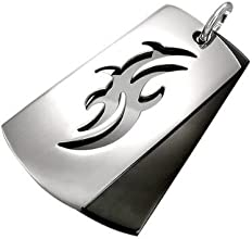 Urban Male Stainless Steel Two Colour Tribal Dog Tag
