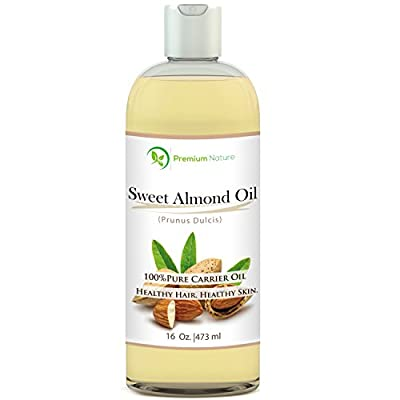Sweet Almond Oil 16 oz - Carrier Oil, Cleansing Properties, Evens Skin Tone, Treats Irritated Skin, Nourishes, Moisturizes & Prevents Aging- By Premium Nature