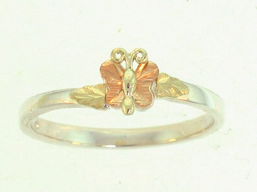 Stunning! Sterling-silver Black Hills Gold Ladies Butterfly ring