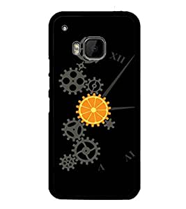 printtech Cool Mechanical Orange Design Back Case Cover for HTC One Hima
