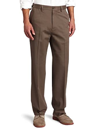 Geoffrey Beene Men's Chino Flat Front Pant, Shale, 34x30