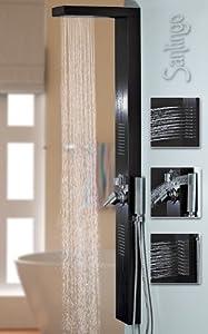 Schwarzes Alu Duschpaneel Duschsäule mit Regendusche und Massagedüsen in schwarz von Sanlingo  BaumarktKundenbewertung und Beschreibung