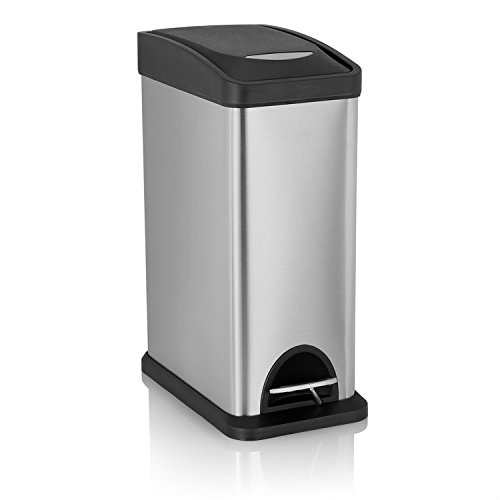 Fortune Candy Rectangle Step Trash Can Stainless Steel with Dent Proof Plastic Lid, 2.1 Gallon/ 8L (Retro Kitchen Trash Can compare prices)