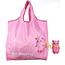 Reusable Shopping Tote Bag - Folded into a Piggy - Pink