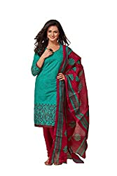 Taos Brand cotton dress materials for women womens dress materials cotton salwar suit New Arrival latest 2016 womens party wear Unstitched dress materials for women (1341summer__green and blue_freesize
