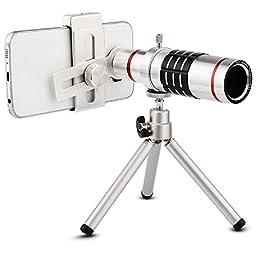 Camera Lens, elecguru Universal 18x Universal Optical Telescope Mobile Lens For Phone Samsung HTC 18X Lens with tripod (18X Universal Clip)