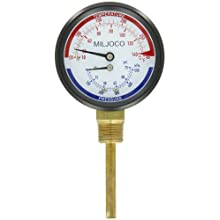 "Miljoco PB3008 Pressure and Temperature Gauge, 3.30"" Dial, 1/2"" NPT Back Connection"