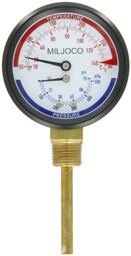 Miljoco PB3008L21-2-50 Pressure and Temperature Gauge, 3.30