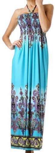 FOPaisley1A-7931 Paisley Graphic Print Beaded Halter Smocked Bodice Maxi / Long Dress - Turquoise / Purple - Large