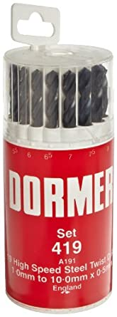 Dormer A191 High Speed Steel Jobber Length Drill Bit Set with Plastic Case, Black Oxide Finish, 118 Degree Conventional Point, Metric, 19 piece, 1.0 mm to 10.0 mm in 0.5 mm Increments