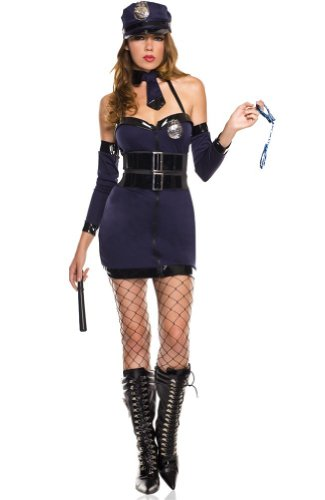 ToBeInStyle Women's Police Halter Dress Costume w/ Baton Prop & Accessories