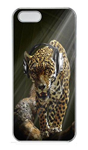 Iphone 5S Case,Leopard Wearing Headphones Animal Pc Hard Plastic Case For Iphone 5/5S Transparent