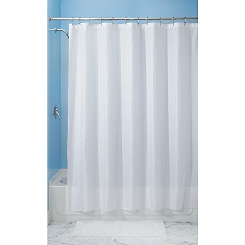 InterDesign Carlton Fabric Shower Curtain, Stall 54 x 78, White (Hookless Shower Curtain Waffle compare prices)