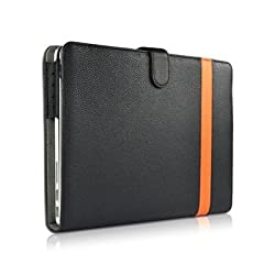 Osaka ® Aviator series Leather case cover (black & orange / PU) for Apple new Macbook Pro 13.3 with Retina Screen Version A1425 plus KlOUD Cleaning cloth