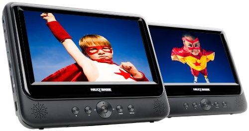 NB49AC Tragbarer DVD Player 22,8 cm (9 Zoll) mit 2 Playern inkl. Auto-Halterungen und Zubehör