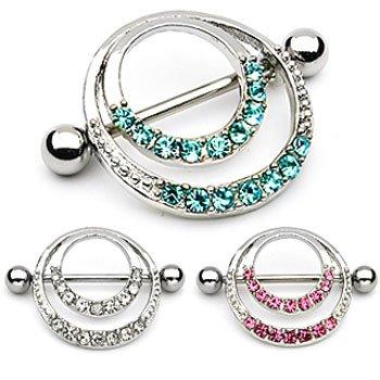 Paved gem double hoop nipple shield, 14 ga