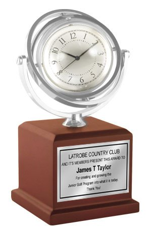 Personalized Gyro Spinning Chrome Clock and Frame with Pedestal Mahogany Wood Base and Engraving Plate. Great Wedding Gift, Anniversary Gift, Retirement or Employee Service Awards