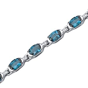 Exceptionally Stunning: 7.75 carats total weight Oval Shape London Blue Topaz Gemstone Bracelet in Sterling Silver Rhodium Finish from peora
