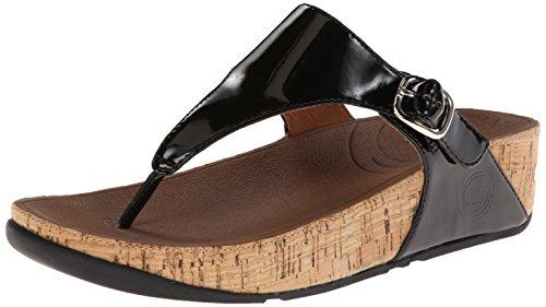 FitFlop Women's The Skinny Cork Flip Flop, Black, 9 M US