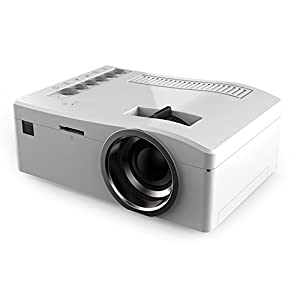 UC18 HD 1080P Portable Mini Projector Led Projector Smart Home Projector Home Theater HDMI Input, USB, 3-in-1 AV In(White)