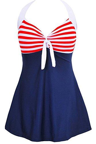 Aidonger-Damen-Pin-Up-Bikini-Sets-Neckholder-Einteilige-Bademode-mit-integriertem-Rock-EU32-EU46