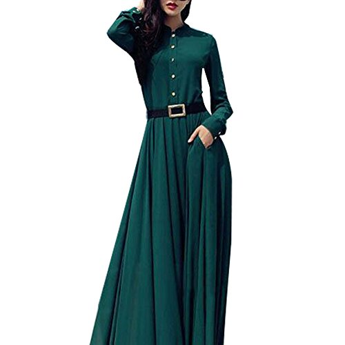 Women Rockbilly Vintage Green Long Sleeves Pleated Maxi Party Dress