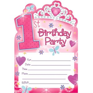 1st Birthday Princess Postcard Invitations (20 count) by AMSCAN *