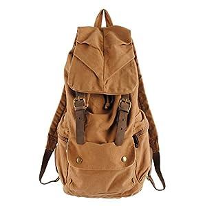 COOLER-Vintaje mochila de lona+piel de deporte con estilo de instituto para mujer/hombre