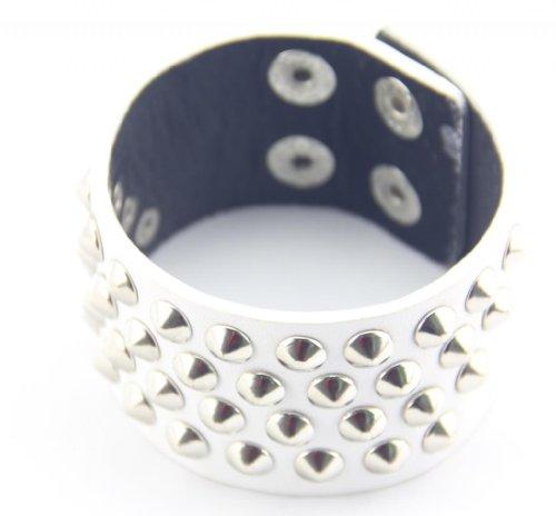 Baqi Punk Black Artificial Leather 3.7Mm Silver Rivet Bracelet Bangle Belt Unisex White