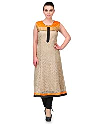 Awesome Fab Beige Color Net Fabric Women's Straight Kurti