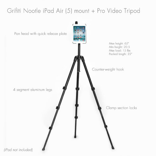 Grifiti Nootle Ipad Air Video Tripod With Pan Head And Tripod Mount For Coaches, Teachers, Parents, Outdoors Pro Video Pan Shots And Photos