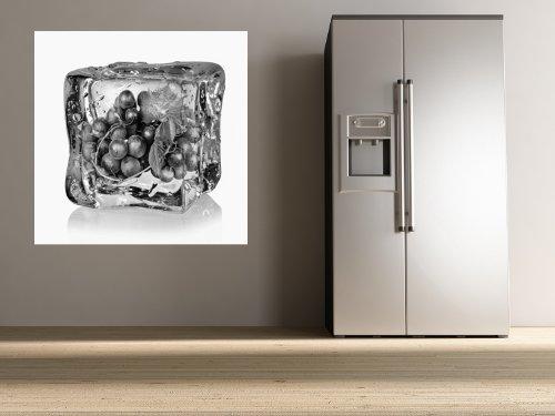 """Bilderdepot24 pajetée peint photo autocollant - autoadhésif """"Les glaçons avec des raisins bleus - noir et blanc"""" 100x100 cm - vente directe fabricant!"""