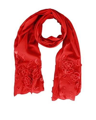 Saachi Women's Scarf with Flowers, Red