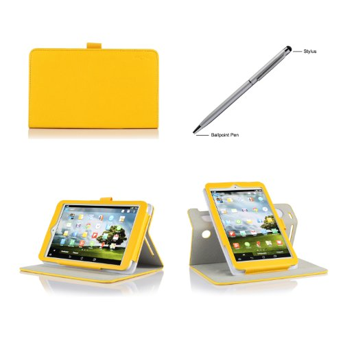 Procase 2013 Asus Memo Pad 8 Me180A Rotating Stand Case With Bonus Stylus Pen - Folio Cover Case (Horizontal And Vertical Display) For 2013 Version Asus Memo Pad 8 Me180A Tablet, Built-In Stand (Yellow)