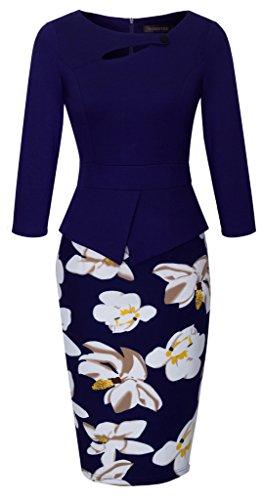 HOMEYEE Women's Elegant Chic Bodycon Formal Dress B288 (4XL, C-Dark Blue)