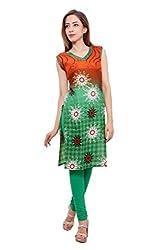 Kurti Studio Festive Saffron Green Unstitched Cotton Kurti Dress Material