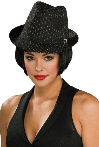 Rubie's Costume Pinstripe Fedora Costume, Black, One Size - 1