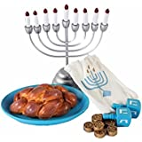 "The Queen's Treasures Hanukkah Play Set! Menorah with 9 Removable Candles, Dreidel, 6 Pieces of Chanukah Gelt, Star of David Platter & Challah Fits 18"" American Girl® Doll Holiday Accessories"