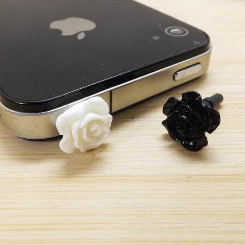 11 Colors Cute Sweet Romantic Sweet Little Rose Flower Anti Dust Plug 3.5Mm Smart Phone Dust Stopper Headphone Jack Earphone Cap Dustproof Plug Charm Iphone 4 4S 5 5S Htc Samsung Ipad 2 3 4 5 Mini Ipod Blackberry Sony Cute Gift (White Black)
