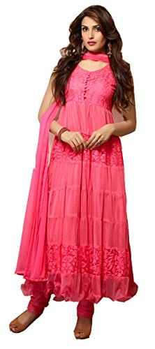Mrig Womens Brasso & Net Anarkali Dress Material (Mrig Beautiful Hot Pink Long Anarkali -Pink -Free Size)