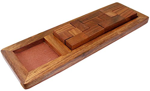Handcrafted Indian 9-Pieces Rectangular Board Jigsaw Puzzle Game – Wooden Toy Game – Birthday Gift -9.5 x 3.1 x 0.8 Inches