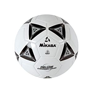 Mikasa Deluxe Soccer, Football, Futbol Ball Size 5-white with Black by Mikasa Sports