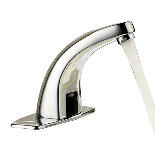 MANCEL Automatic Sensor Touchless Bathroom Sink Faucet with Hole Cover Deck Plate ,Brass Chrome Finish