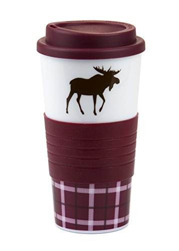 Stylish 18 Oz Bpa-Free Plastic Coffee Tea Tumbler With A Matching Slip Resistant Cup Holder (Burgundy Color)